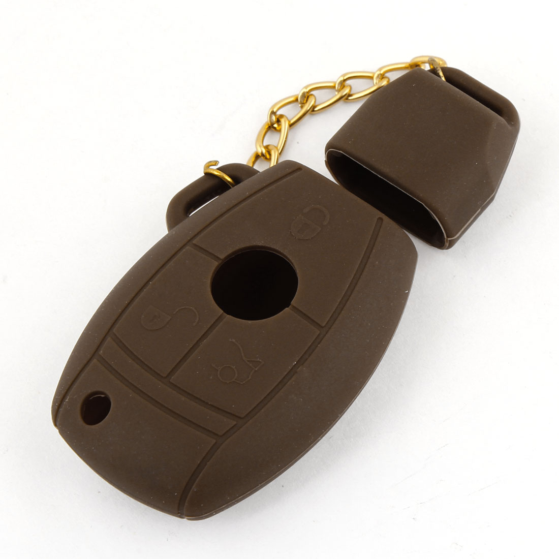 Car Grenade Shape 3 Buttons Key Cover Bag Case Brown for Benz