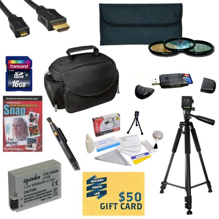 Best Value Kit for Canon Rebel T2i T3i T4i T5i DSLR + 16GB SDHC Card + Battery + Charger + 3 Piece Filters + Gadget Bag +Tripod + Lens Pen + Cleaning Kit + DSLR DVD + $50 Gift Card