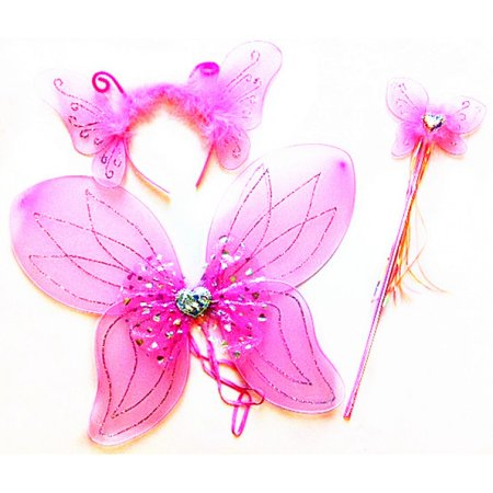 Kids Heart Sparkle Butterfly Wings with Antenna and Wand - Pink](Wands And Wings)