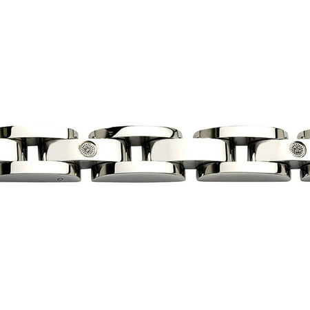 Diamond Stainless Steel with 14kt White Gold Accents Bracelet, 8.5 Diamond Com Stainless Steel Bracelets