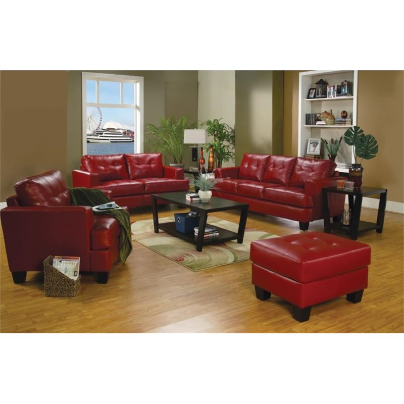 Coaster Samuel 3 Piece Contemporary Leather Sofa Set In Red