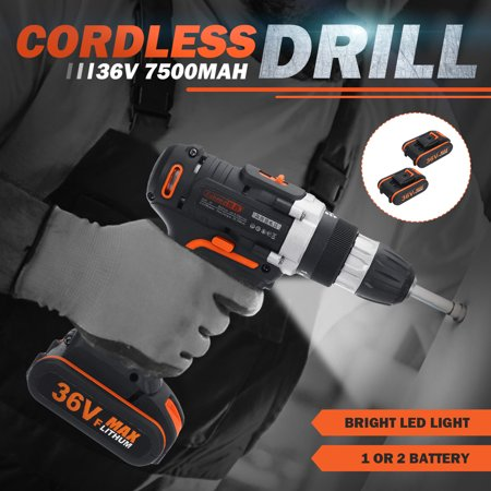 36V Cordless 15+1 Torque Rechargeable Electric Cordless Drill Impact Wrench LED Light 2 Speed 10MM Keyless Chuck  with 2Pcs/1Pc Lithium Batteries