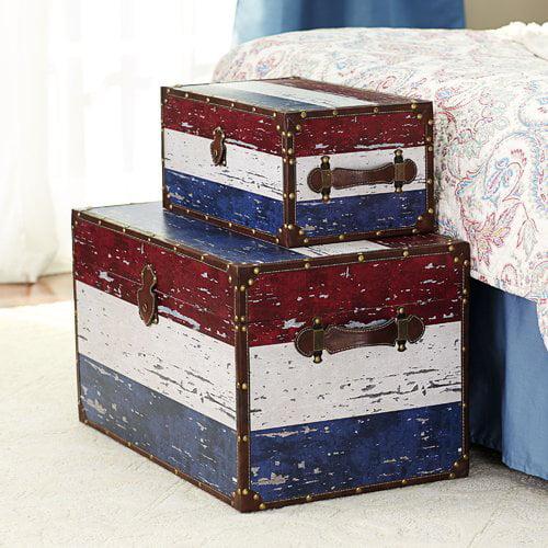 Household Essentials Decorative Storage Trunk, American Flag Design, Set of 2