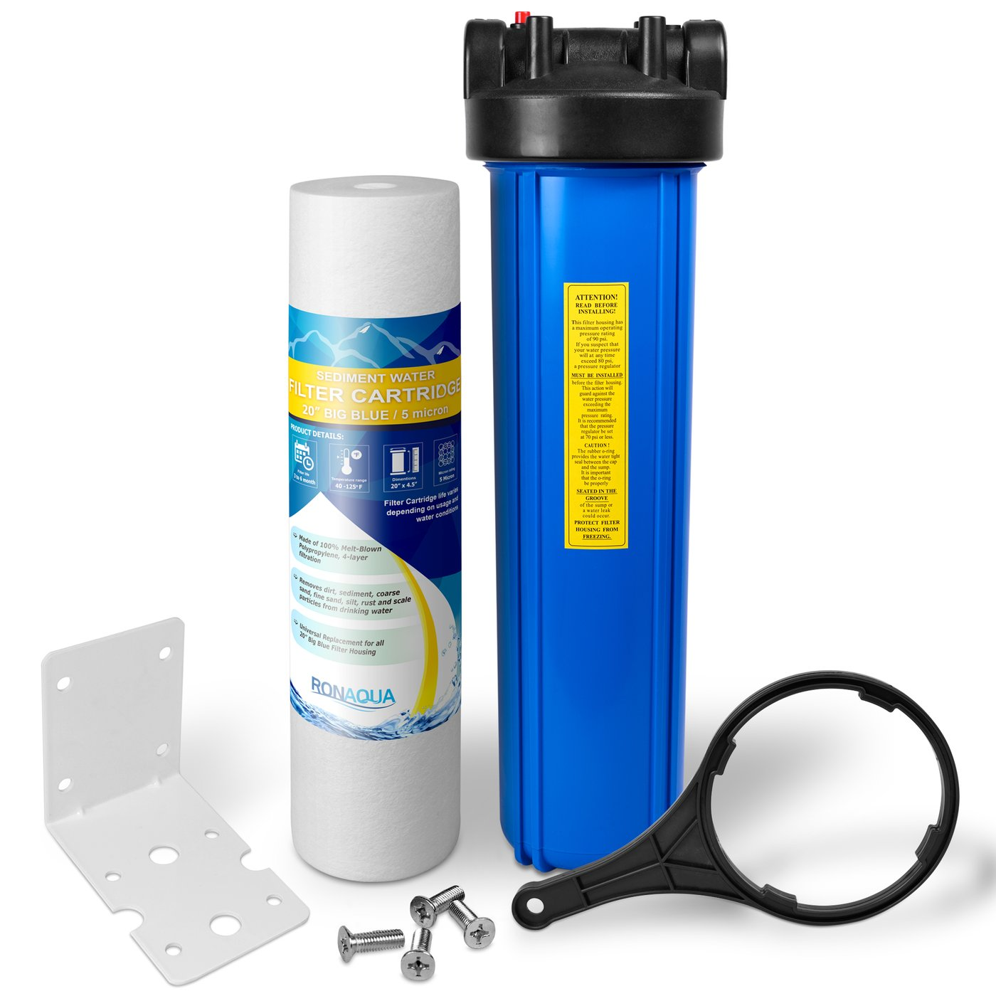 "20"" Big Blue Water Filter Purifier System with 5 Micron 4.5 x 20 Sediment Cartridge"