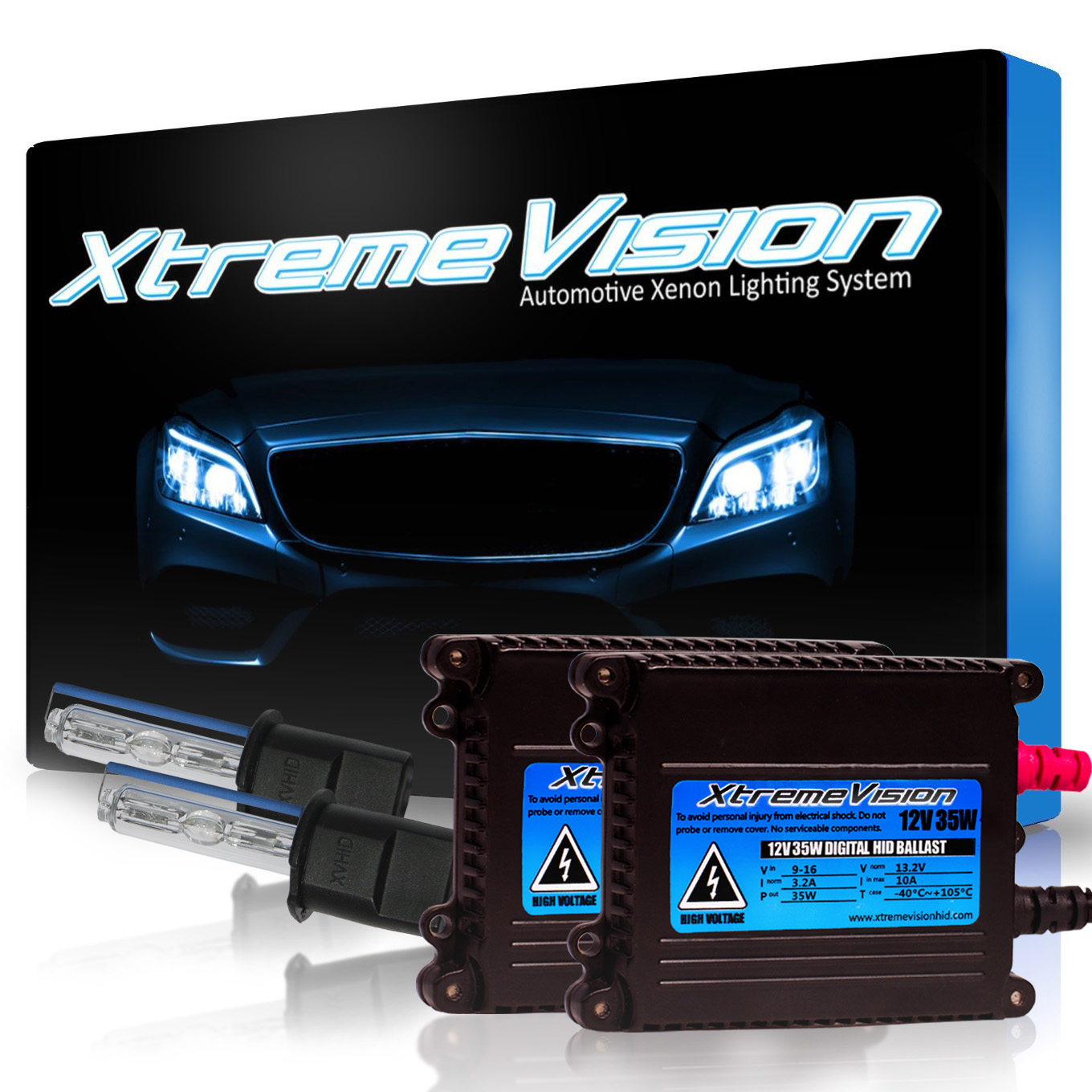 XtremeVision 35W HID Xenon Conversion Kit with Premium Slim Ballast - H3 8000K - Medium Blue - 2 Year Warranty