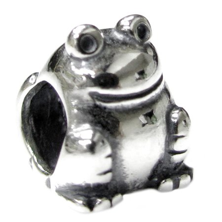 Queenberry Sterling Silver Frog Toad European Style Bead Charm Fits