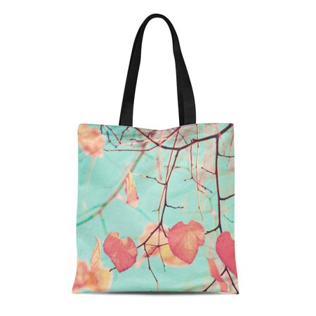 POGLIP Canvas Tote Bag Pink Photography Fall Leafs Over Aqua Mint Sky Blue Reusable Shoulder Grocery Shopping Bags Handbag - image 1 of 1