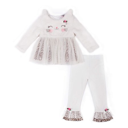 Kitty Face Tunic Dress & Pants, 2-Piece Outfit Set (Baby Girls)
