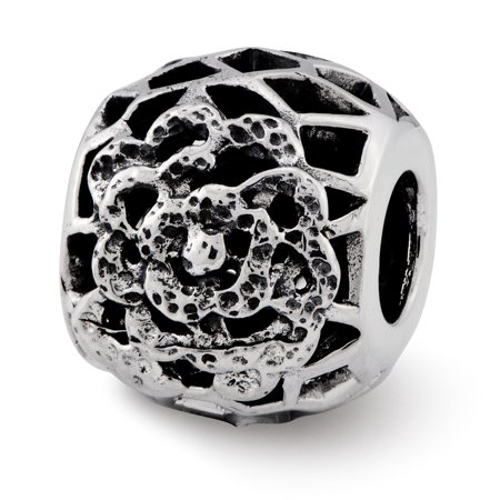 Lex & Lu Sterling Silver Reflections Flower Bali Bead