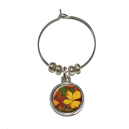 Colorful Autumn Fall Leaves Wine Glass Charm - No. (Fall Leaf Wine)