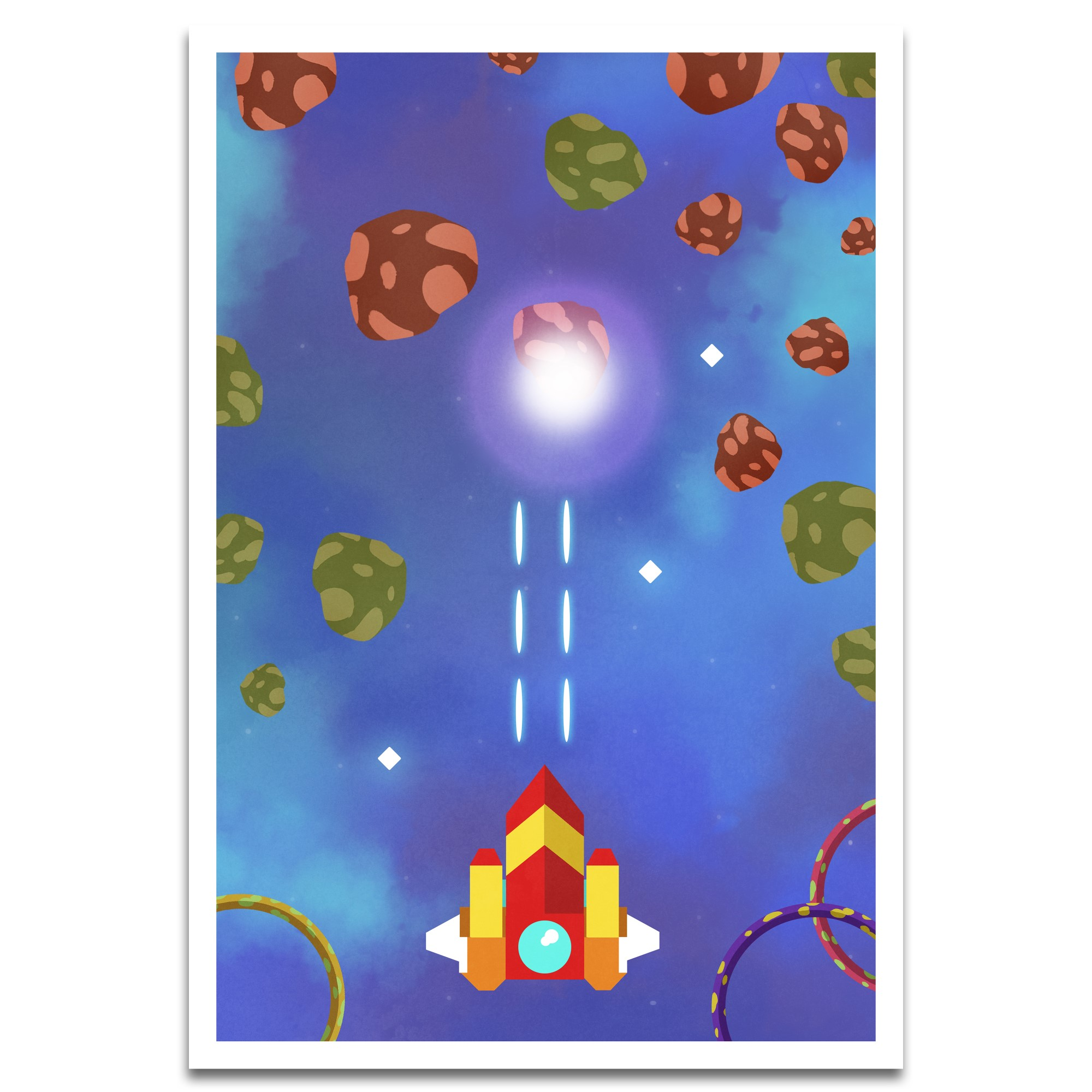 Visionary Prints 'To Different Worlds Print' | Gamer Wall Art - Red Castle with Mushrooms | Modern Contemporary Poster Print, 13x19 inch