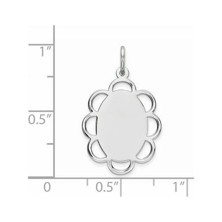 Argent 925 Engraveable poli avant / satin Retour Disc (15x18mm) Pendentif / Breloque - image 2 de 2
