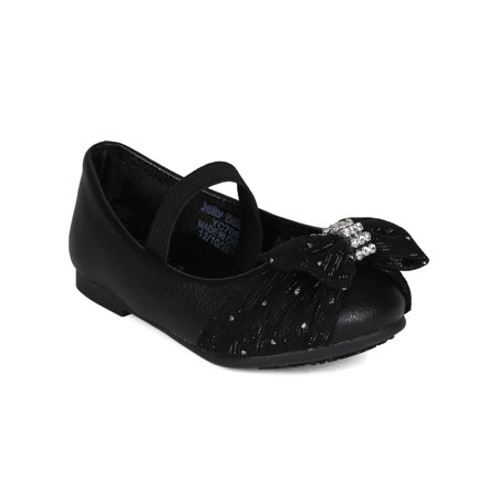 Jelly Beans CA19 Leatherette Glitter Chiffon Bow Embellished Mary Jane Ballerina Flat (Toddler/ Little Girl)