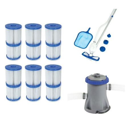 Bestway Type V/K Filter Cartridge (6 Pack) + Pool Cleaning Kit + Filter (Best Way To Clean Piercings)