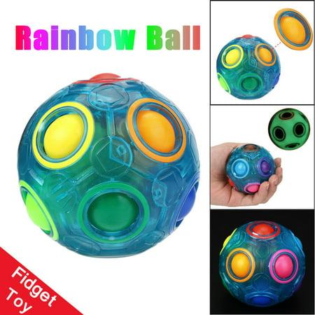 Luminous Stress Reliever Magic Rainbow Ball Fun Cube Fidget Puzzle Education Kids Toy
