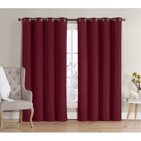 Hotel Window - 2 Pack: Hotel Thermal Grommet 100% Blackout Curtains - Burgundy, 84 in. Length