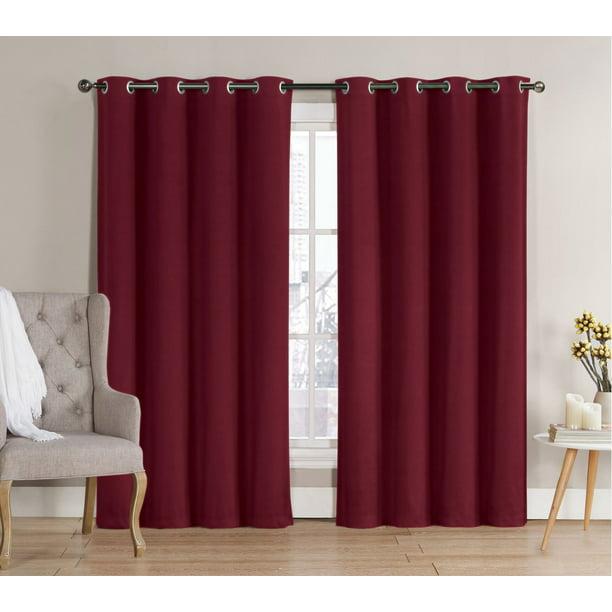 2 Pack Hotel Thermal Grommet 100 Blackout Curtains Burgundy 84 In Length Walmart Com Walmart Com