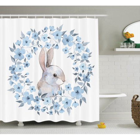 Watercolor Flower Decor Shower Curtain Set, Bunny Rabbit Portrait In ...