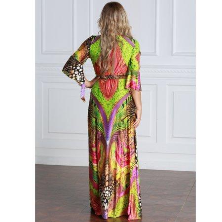 women plus size muslim dress colorful crochet lace v neck