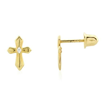 14k Yellow Gold Created Diamond Religious Cross Screw Back Stud Earrings
