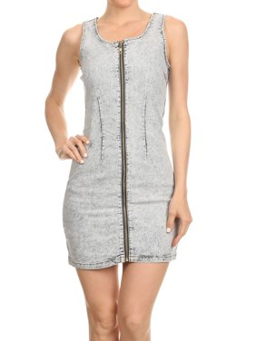 Women's Juniors Sleeveless Mini Bodycon Denim Jean Dress