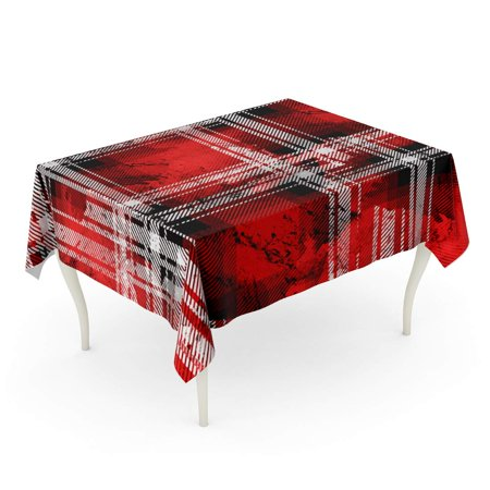POGLIP Plaid Printing Pattern Tartan Creative Stripes and Watercolor Effect Buffalo Christmas Tablecloth Table Desk Cover Home Party Decor 60x120 inch - image 1 of 1