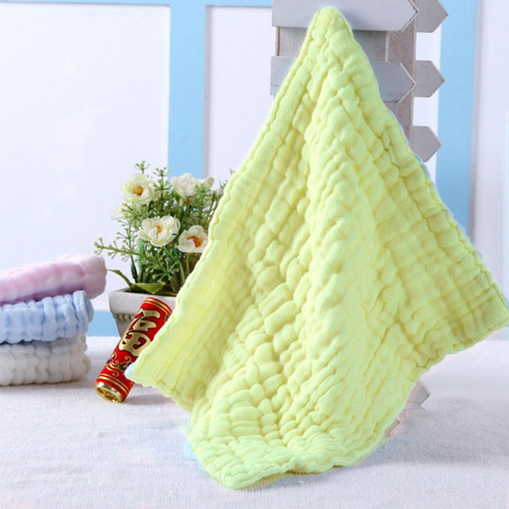 Flying Outlets 5 Pcs Baby Washcloths For Sensitive Skin Washcloths Cotton Towels Gauze Square Yellow by Flying Outlets