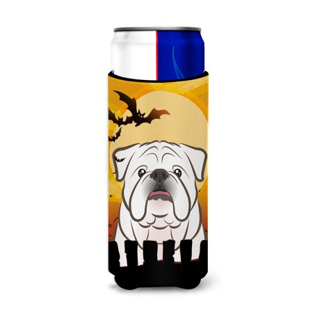 Open English Commercial Halloween (Halloween White English Bulldog  Ultra Beverage Insulators for slim cans)