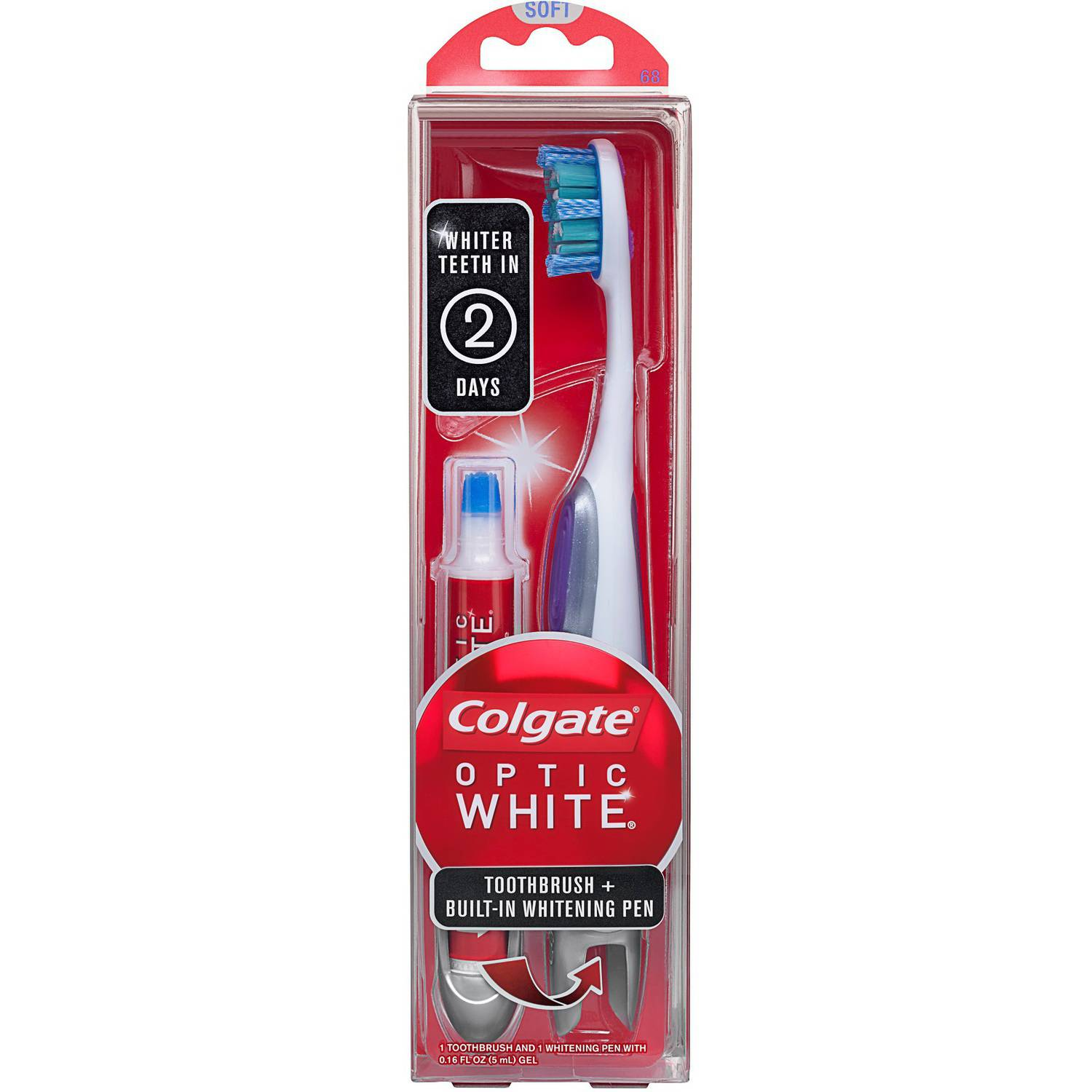 Colgate Optic White Soft Toothbrush + Built-In Whitening Pen, 2 pc
