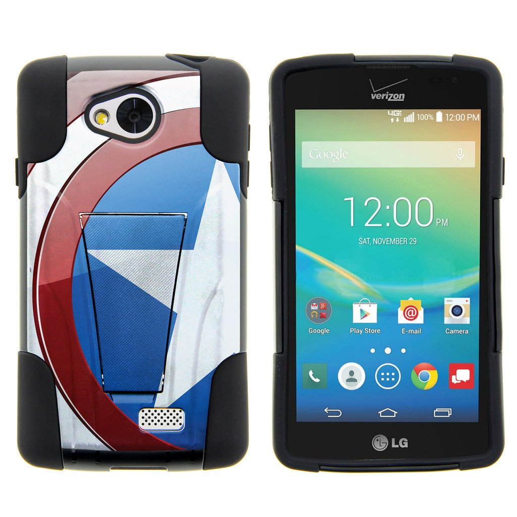 LG Tribute, LG Transpyre and LG Optimus F60 STRIKE IMPACT Dual Layered Shock Resistant Case with Built-In Kickstand by Miniturtle® - American Shield Flag
