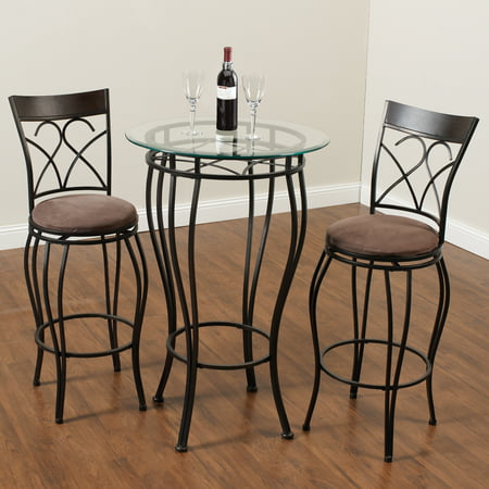 - Home Source Fancy Metal Pub Table with 2 Chairs