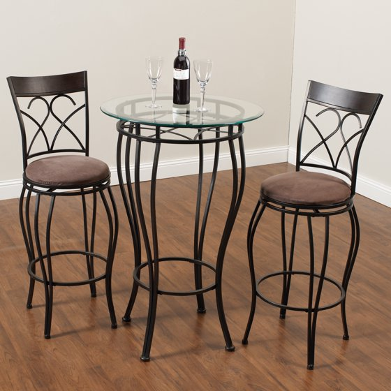 Table Chairs Walmart: Home Source Fancy Metal Pub Table With 2 Chairs