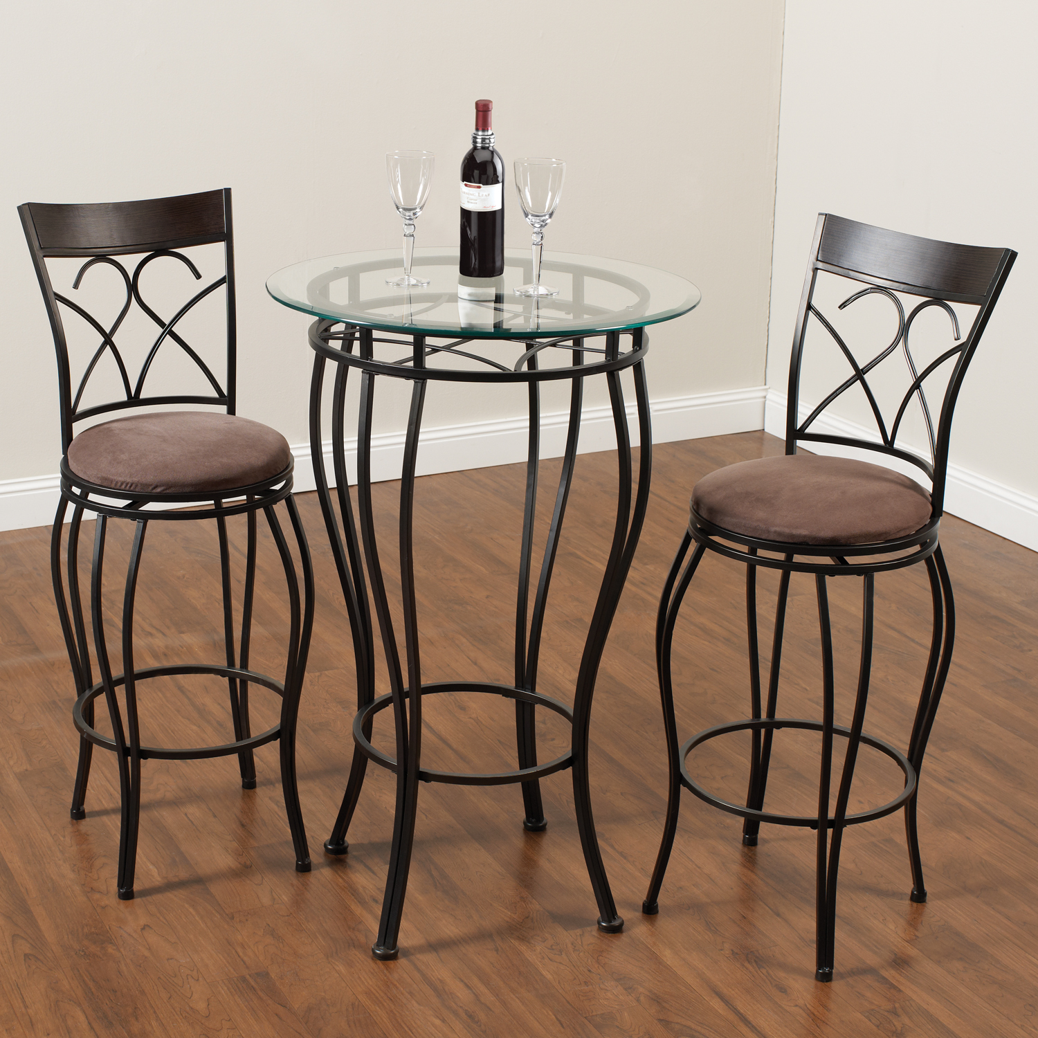 Home Source Fancy Metal Pub Table with 2 Chairs