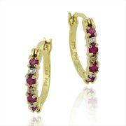 Gold Tone over Sterling Silver Ruby & Diamond Accent Hoop Earrings