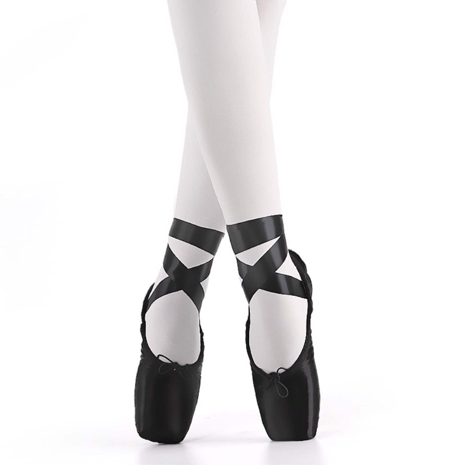 2020 New Black Red Ballet Pointe Shoes Satin Upper With Ribbon Dance Toe Shoes