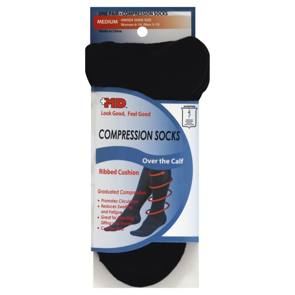 +MD Medium Ribbed Cushion Cotton Black Compression Socks, 1 pair