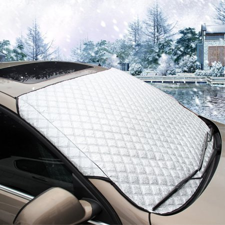 MATCC All-seasons Car Windshield Snow Cover & Sun Shade Cover & UV Protector Cover with Cotton Thicker ,Universal for Auto SUV Small Car, 57.87(width) X