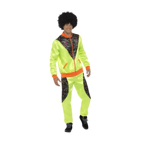Neon Green 80s Track Suit Adult Costume Tracksuit Jacket Pants Adult Shell Retro