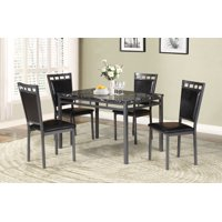 Marble And Metal 5 Pieces Dining Set In Black And Gray