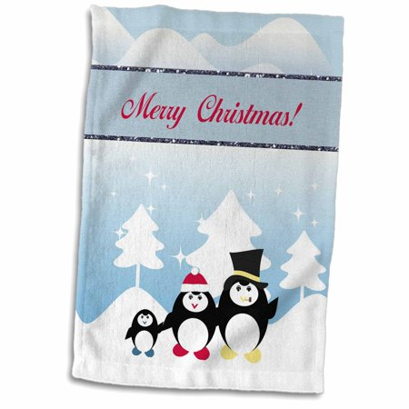 3dRose Penguin Family on a Winters Day, Merry Christmas - Towel, 15 by 22-inch ()