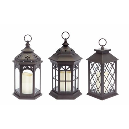 Pack Of 3 Dark Brown Battery Operated Outdoor Led Candle Lanterns W Timers