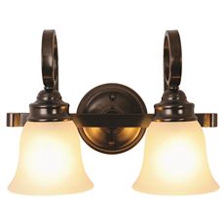 Sanibel 2-Light Vanity Fixture, Frosted Glass, 15-1/2 X 11 X 7-3/4 In., Oil Rubbed Bronze*