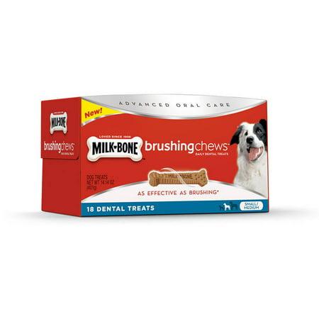 Milk Bone Brushing Chews Small Medium Daily Dental Dog Treats 18 Ct Box