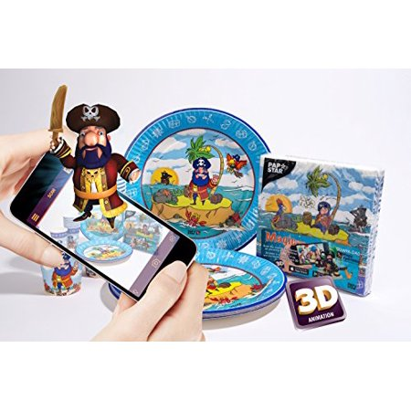 Pirate 3D Augmented Reality Party Set Supplies (Napkins + Cups + Paper Plates) - Compatible with iOS & Android -load The Magic Xperience APP At No Charge! - Pirate Plates And Napkins
