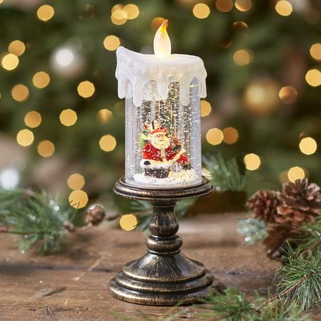 Lighted Holiday Candle Snow Globe - Santa ()