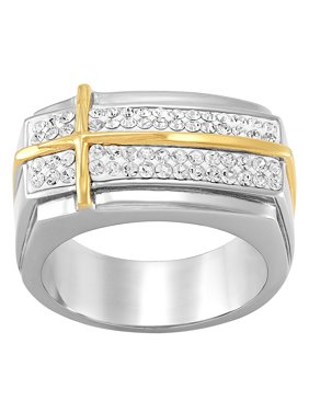 Brilliance Fine Jewelry Crystal Overlay Cross Ring in Stainless Steel, Size 11