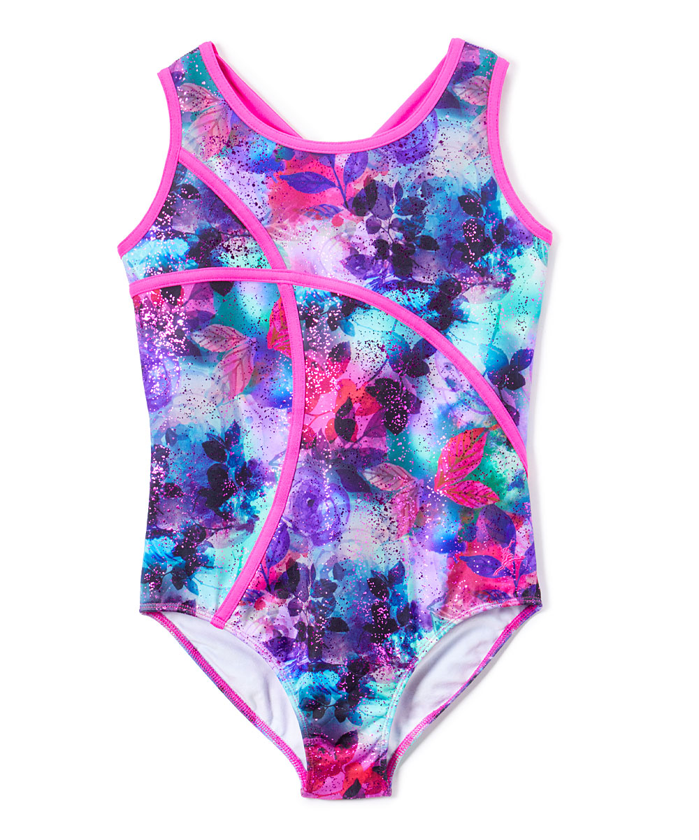 Fleur De Vie Printed Leotard with front strapping and colorful straps in back