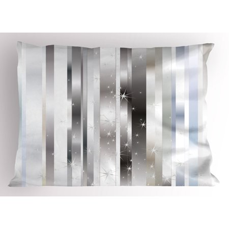(Silver Pillow Sham Modern Composition with Vertical Color Bands and Vibrant Star Figures, Decorative Standard King Size Printed Pillowcase, 36 X 20 Inches, Gray Black Pale Blue, by Ambesonne)