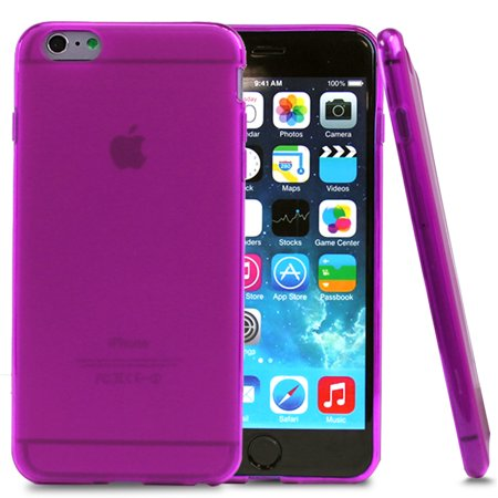 Pink Flexible Silicone - Apple iPhone 6 Plus Case, [Hot Pink] Slim & Flexible Anti-shock Crystal Silicone Protective TPU Gel Skin Case Cover