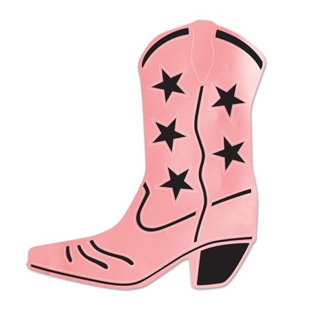 Club Pack of 24 Pink and Black Foil Country Western Cowboy Boot Silhouette Party Decorations 16